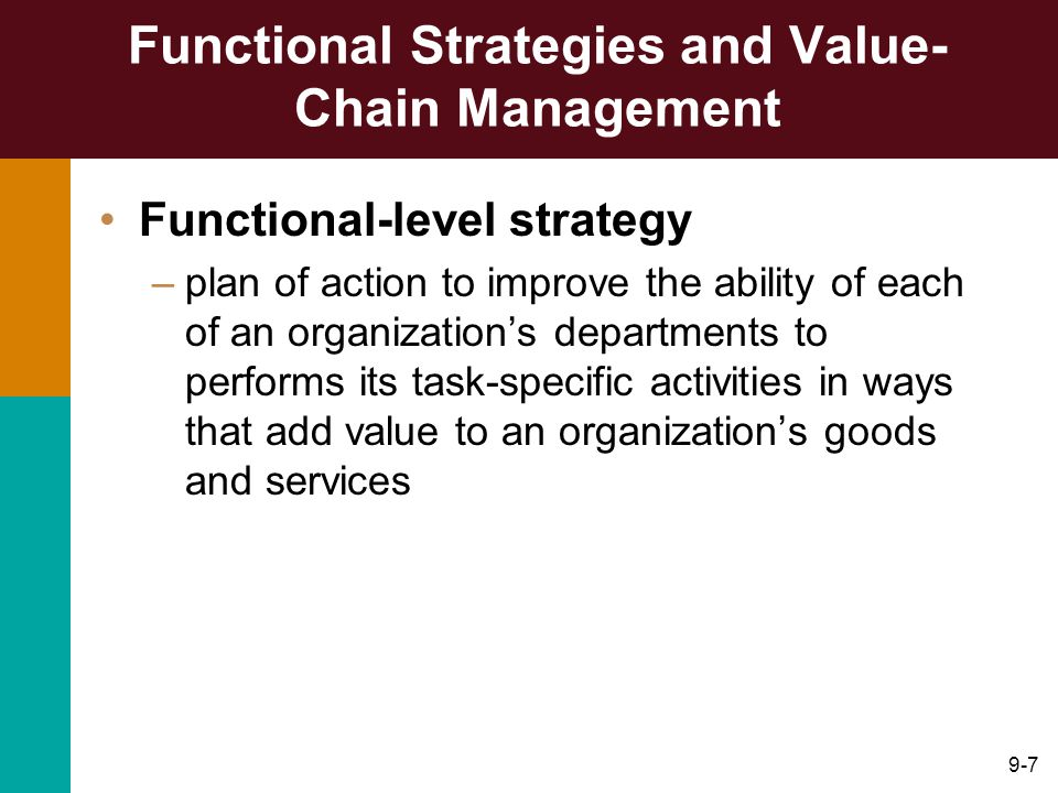 9-7 Functional Strategies and Value- Chain Management Functional-level strategy –plan of action to improve the ability of each of an organization's departments to performs its task-specific activities in ways that add value to an organization's goods and services