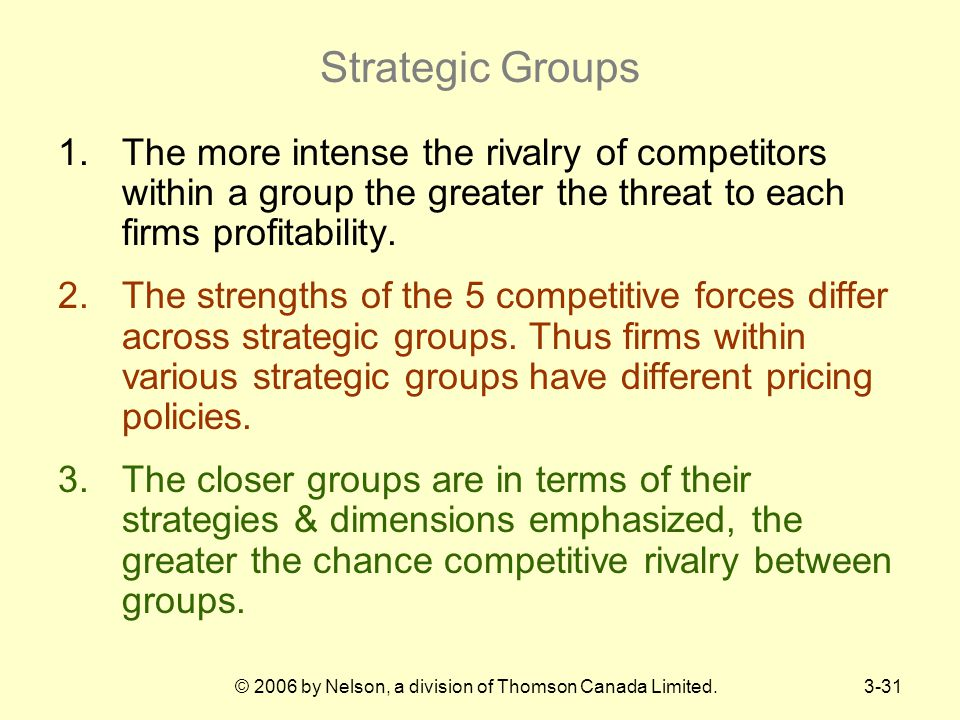 © 2006 by Nelson, a division of Thomson Canada Limited.3-31 Strategic Groups 1.The more intense the rivalry of competitors within a group the greater the threat to each firms profitability.