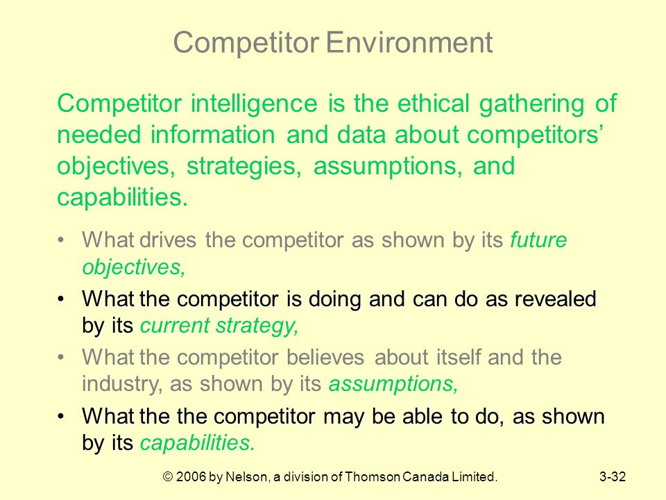 © 2006 by Nelson, a division of Thomson Canada Limited.3-32 Competitor Environment Competitor intelligence is the ethical gathering of needed information and data about competitors' objectives, strategies, assumptions, and capabilities.