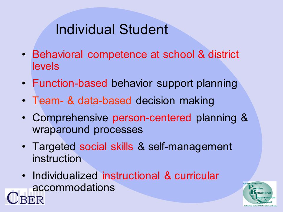 Behavioral competence at school & district levels Function-based behavior support planning Team- & data-based decision making Comprehensive person-cen