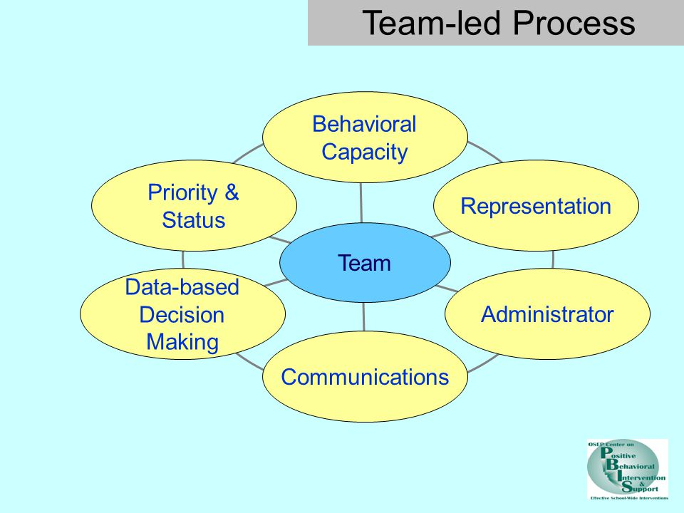 Behavioral Capacity Priority & Status Data-based Decision Making Communications Administrator Team Representation Team-led Process