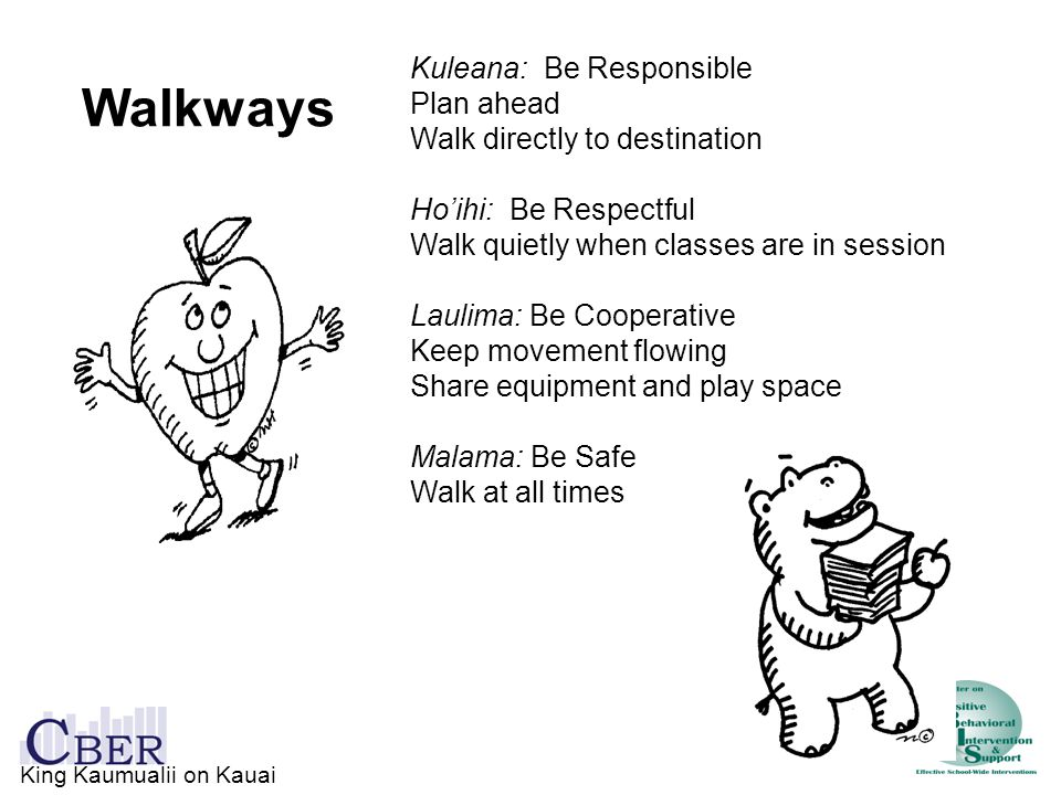 Walkways Kuleana: Be Responsible Plan ahead Walk directly to destination Ho'ihi: Be Respectful Walk quietly when classes are in session Laulima: Be Co