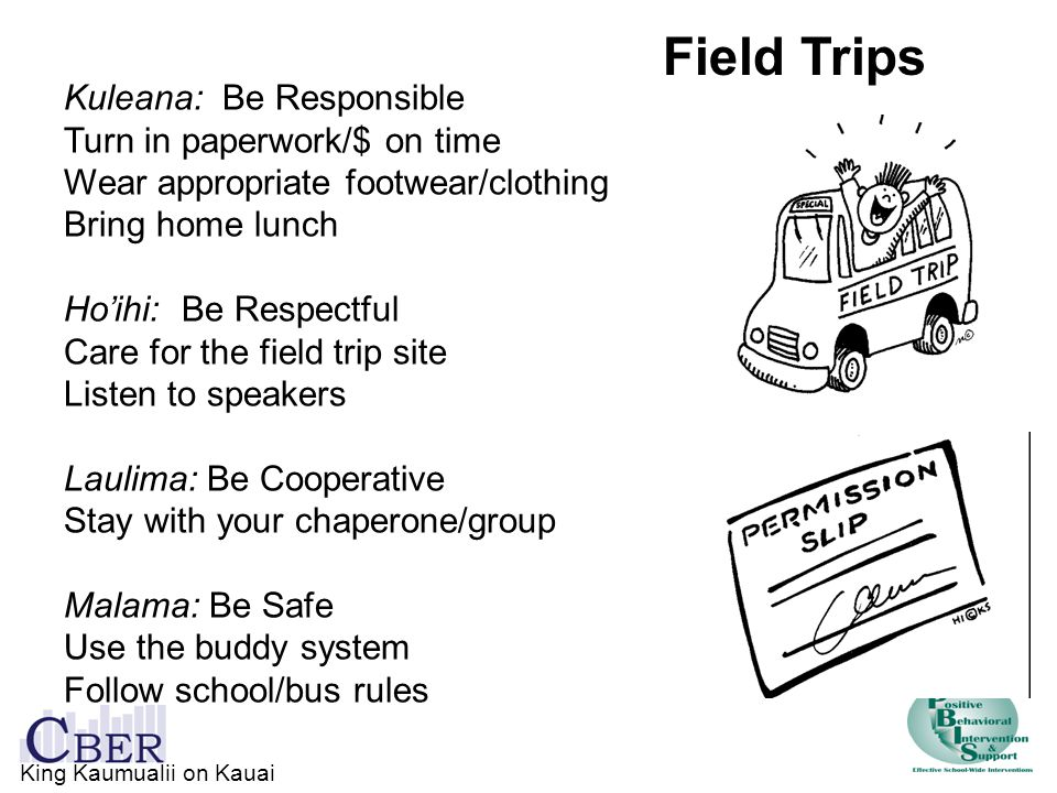 Kuleana: Be Responsible Turn in paperwork/$ on time Wear appropriate footwear/clothing Bring home lunch Ho'ihi: Be Respectful Care for the field trip