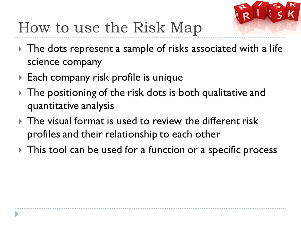 How to use the Risk Map  The dots represent a sample of risks associated with a life science company  Each company risk profile is unique  The positioning of the risk dots is both qualitative and quantitative analysis  The visual format is used to review the different risk profiles and their relationship to each other  This tool can be used for a function or a specific process