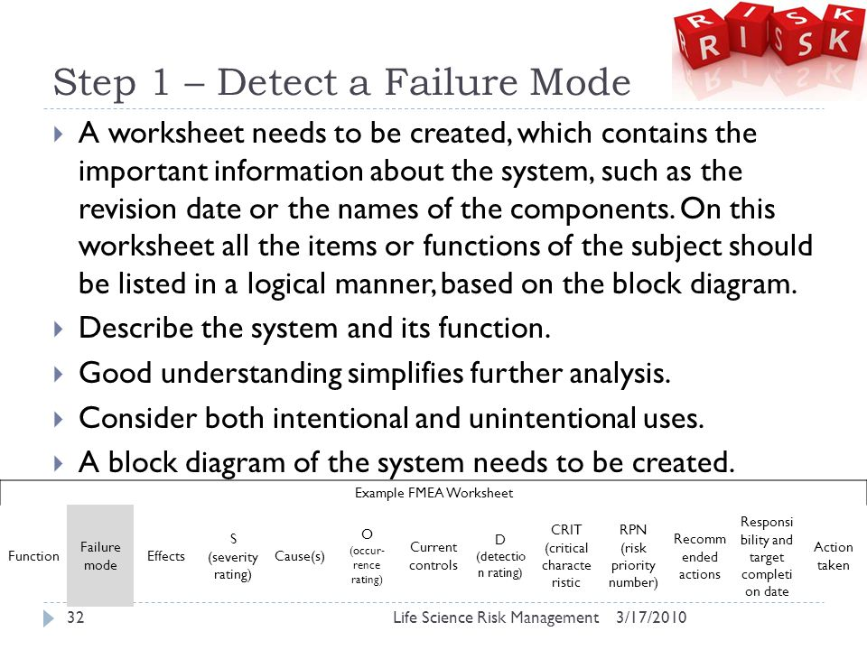 Step 1 – Detect a Failure Mode  A worksheet needs to be created, which contains the important information about the system, such as the revision date or the names of the components.