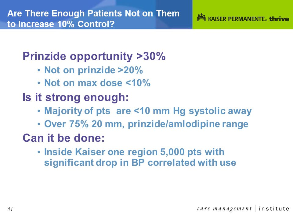 11 Are There Enough Patients Not on Them to Increase 10% Control.