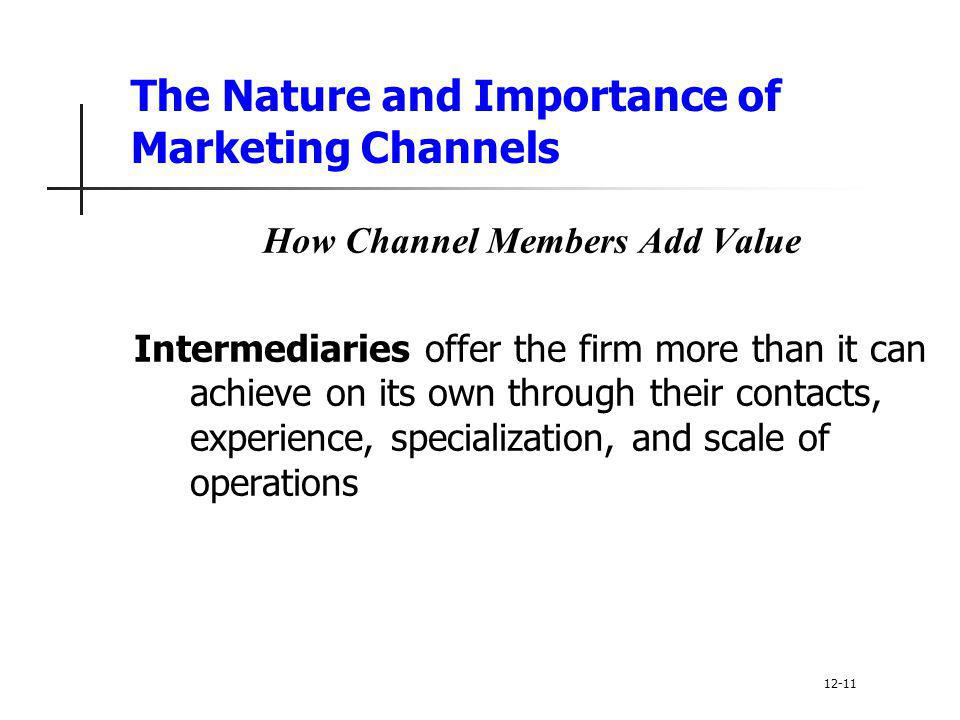 The Nature and Importance of Marketing Channels How Channel Members Add Value Intermediaries offer the firm more than it can achieve on its own throug