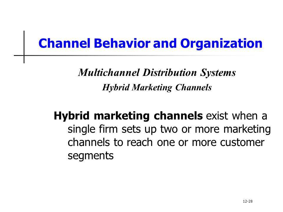 Channel Behavior and Organization Multichannel Distribution Systems Hybrid Marketing Channels Hybrid marketing channels exist when a single firm sets