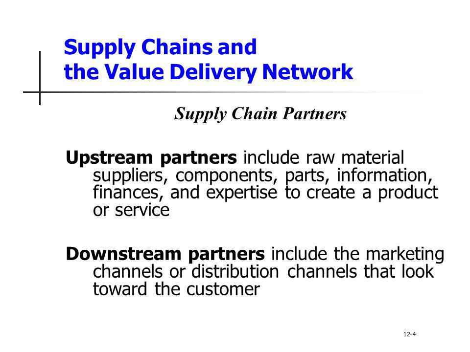 Supply Chains and the Value Delivery Network Supply Chain Partners Upstream partners include raw material suppliers, components, parts, information, f