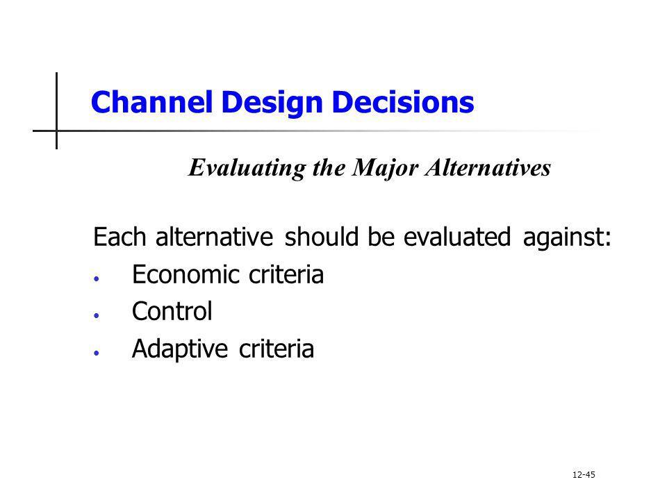 Channel Design Decisions Evaluating the Major Alternatives Each alternative should be evaluated against: Economic criteria Control Adaptive criteria 1