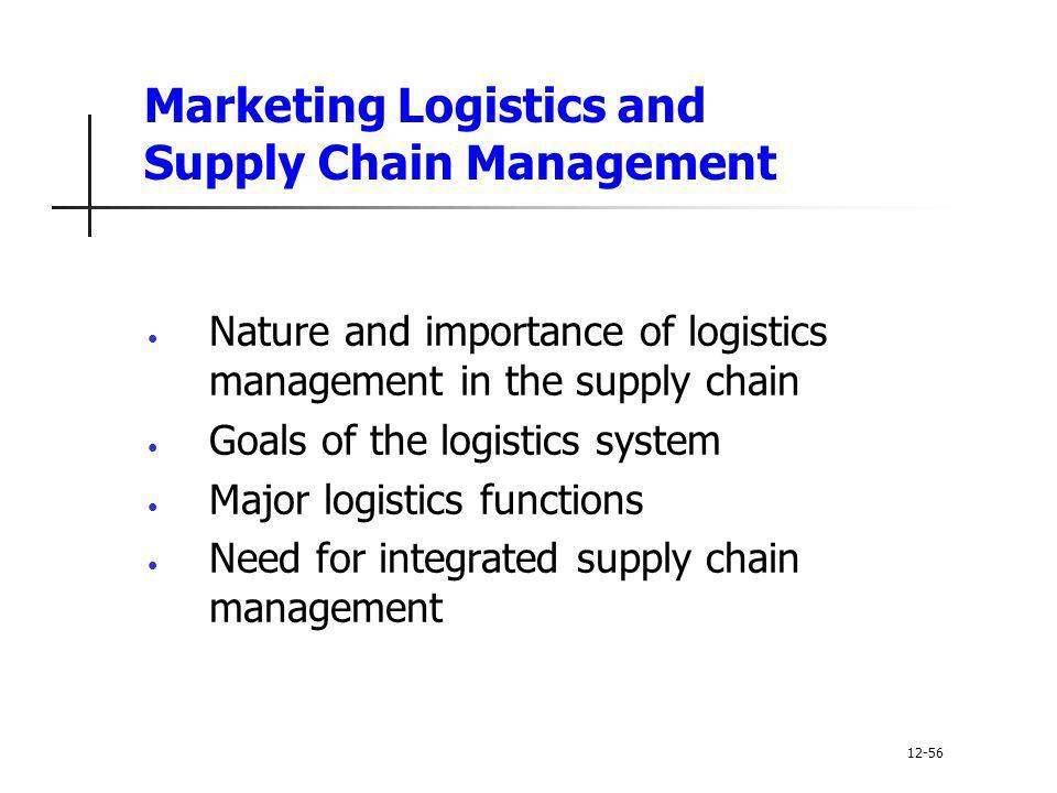 Marketing Logistics and Supply Chain Management Nature and importance of logistics management in the supply chain Goals of the logistics system Major