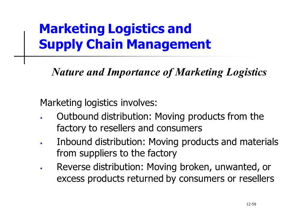 Marketing Logistics and Supply Chain Management Nature and Importance of Marketing Logistics Marketing logistics involves: Outbound distribution: Movi