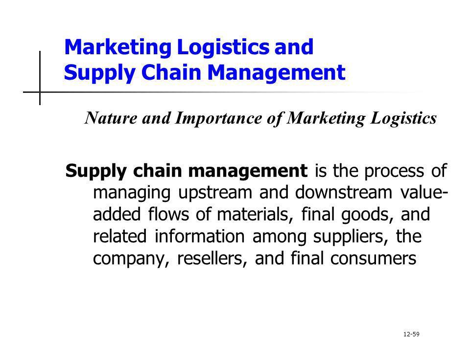 Marketing Logistics and Supply Chain Management Nature and Importance of Marketing Logistics Supply chain management is the process of managing upstre