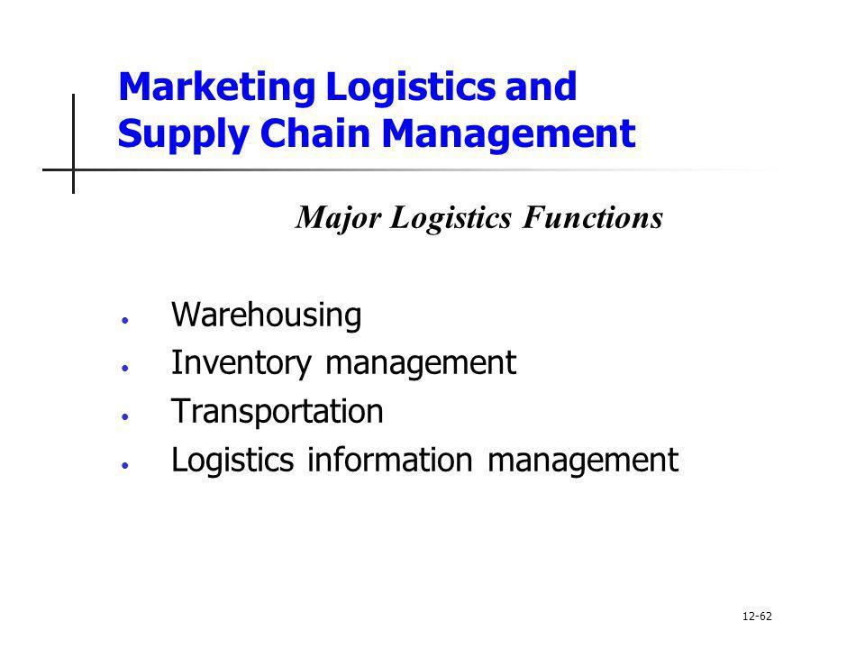 Marketing Logistics and Supply Chain Management Major Logistics Functions Warehousing Inventory management Transportation Logistics information manage