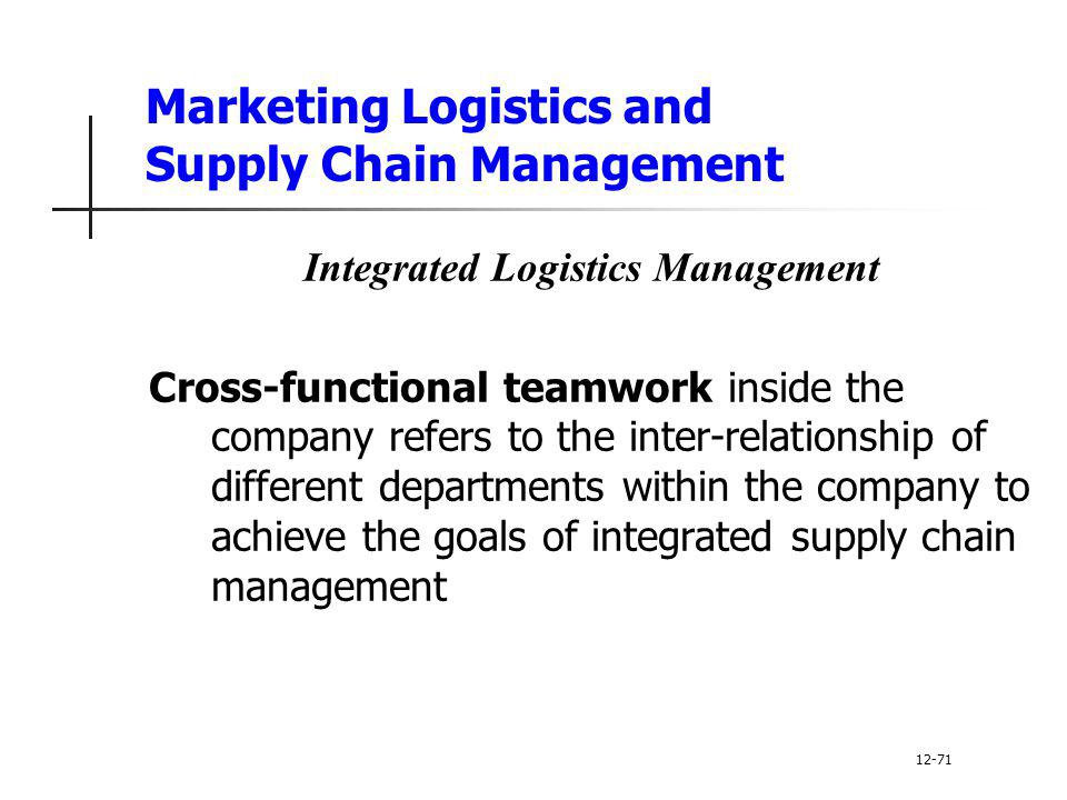 Marketing Logistics and Supply Chain Management Integrated Logistics Management Cross-functional teamwork inside the company refers to the inter-relat