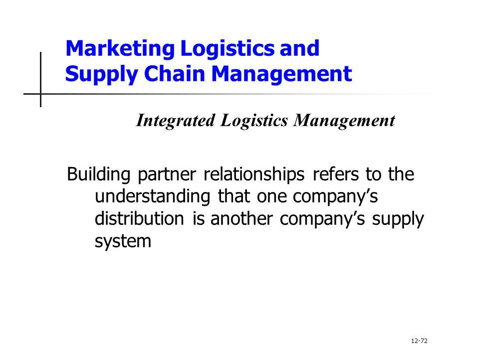 Marketing Logistics and Supply Chain Management Integrated Logistics Management Building partner relationships refers to the understanding that one co