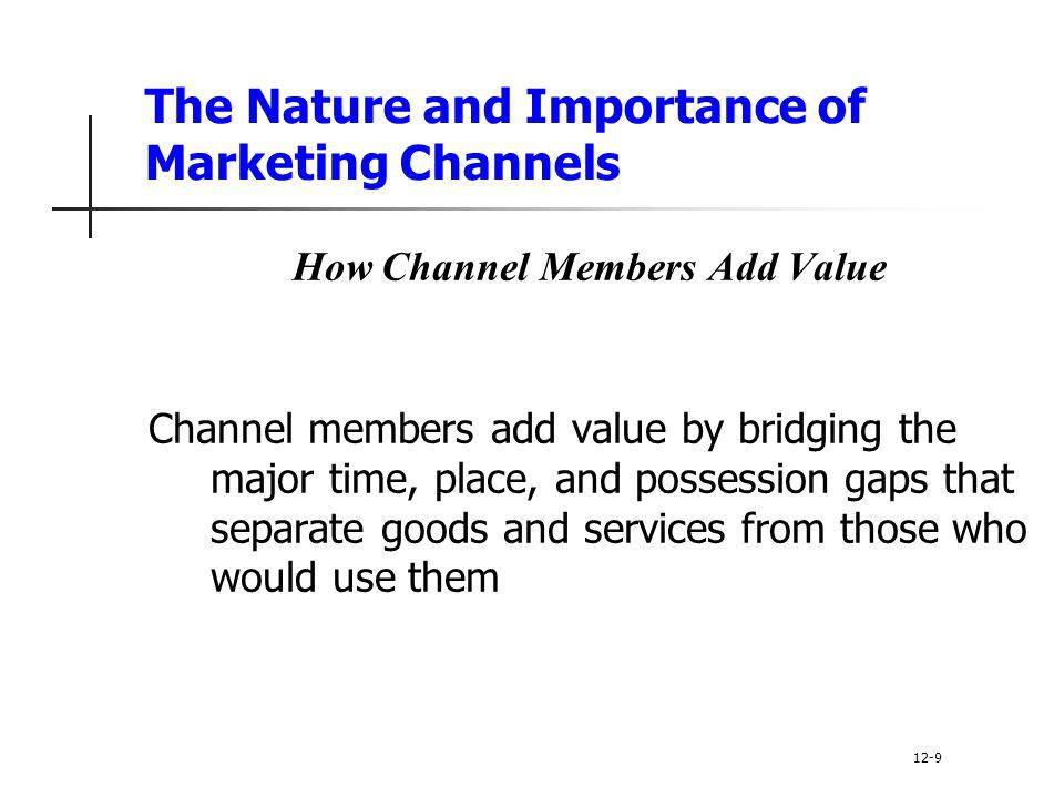 The Nature and Importance of Marketing Channels How Channel Members Add Value Channel members add value by bridging the major time, place, and possess