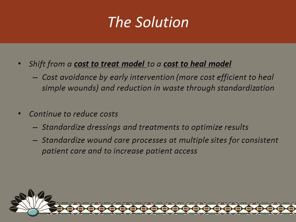 The Solution Shift from a cost to treat model to a cost to heal model – Cost avoidance by early intervention (more cost efficient to heal simple wounds) and reduction in waste through standardization Continue to reduce costs – Standardize dressings and treatments to optimize results – Standardize wound care processes at multiple sites for consistent patient care and to increase patient access