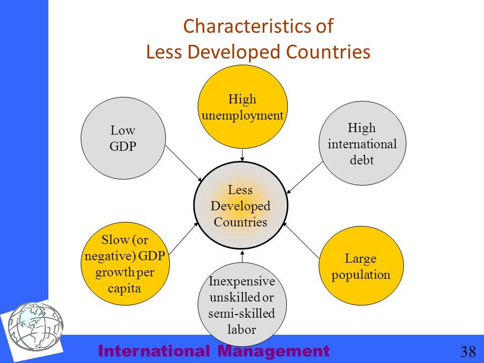 International Management 38 Characteristics of Less Developed Countries Less Developed Countries Low GDP High international debt Slow (or negative) GD