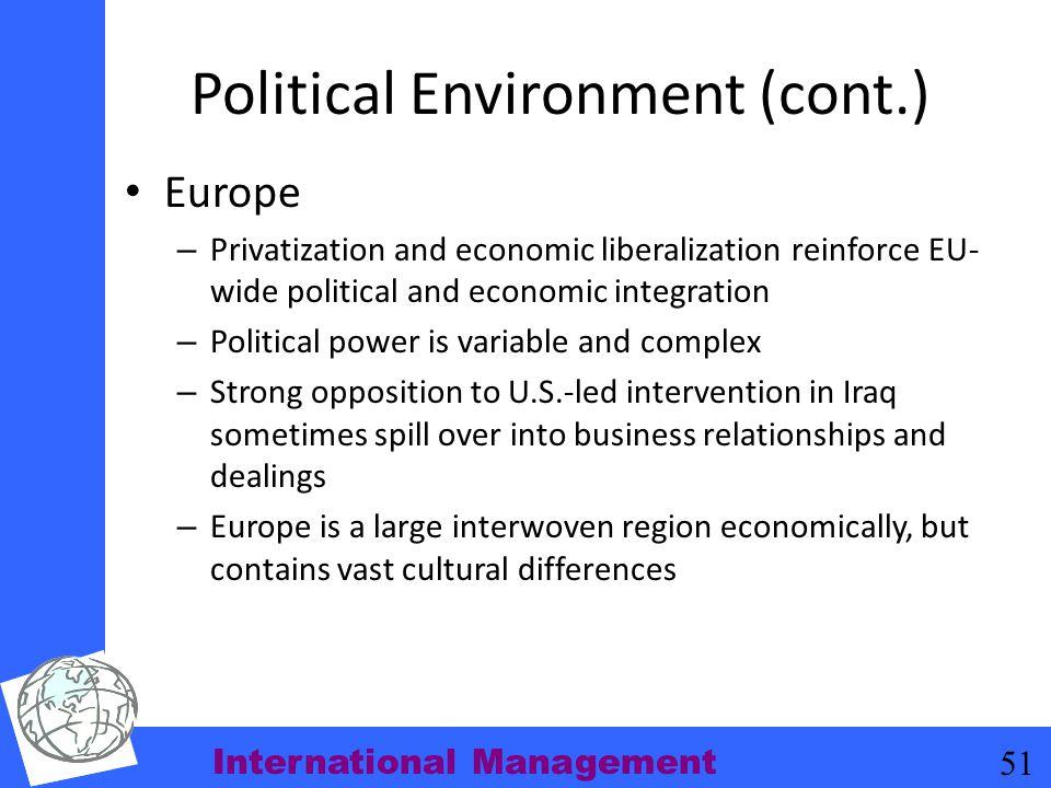 International Management 51 Political Environment (cont.) Europe – Privatization and economic liberalization reinforce EU- wide political and economic