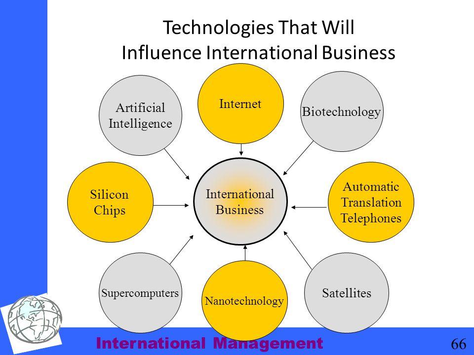 International Management 66 Technologies That Will Influence International Business International Business Artificial Intelligence Biotechnology Satel