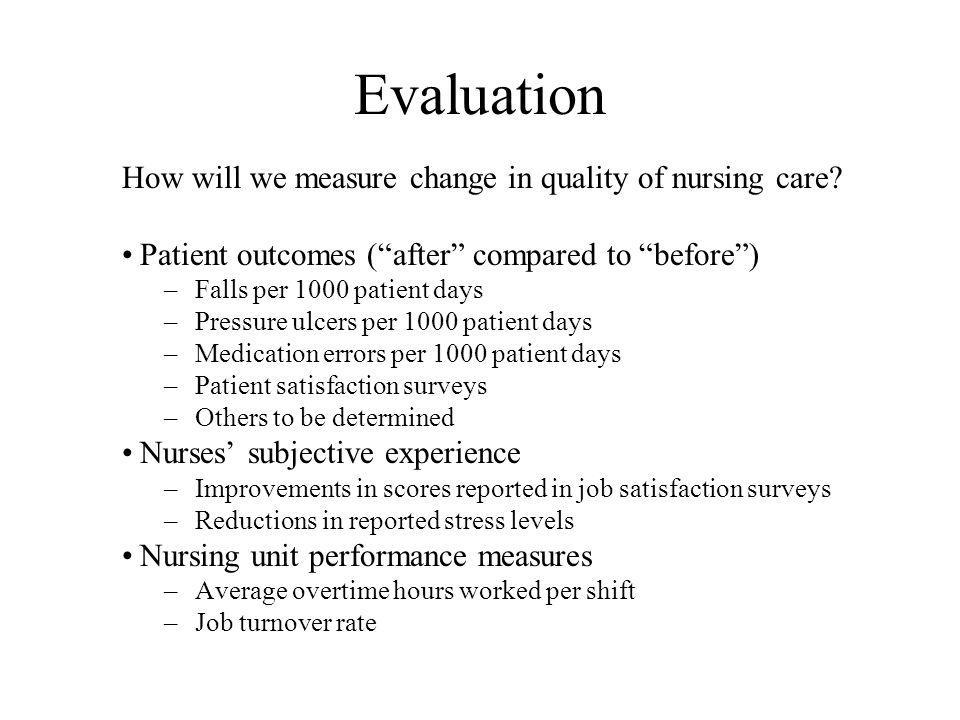 Evaluation How will we measure change in quality of nursing care.