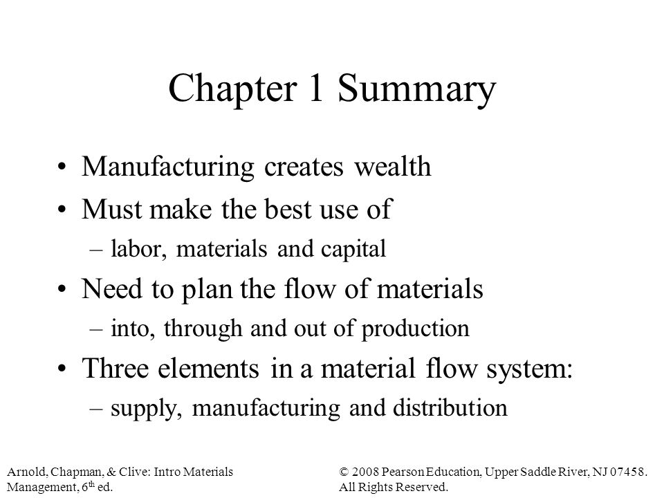 Arnold, Chapman, & Clive: Intro Materials Management, 6 th ed.