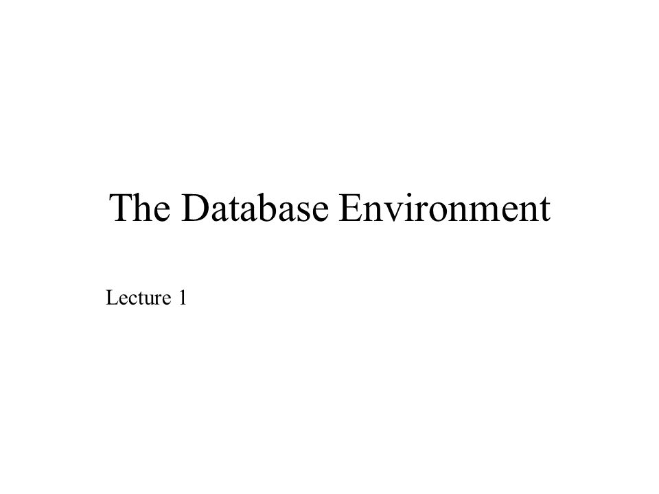 The Database Environment Lecture 1