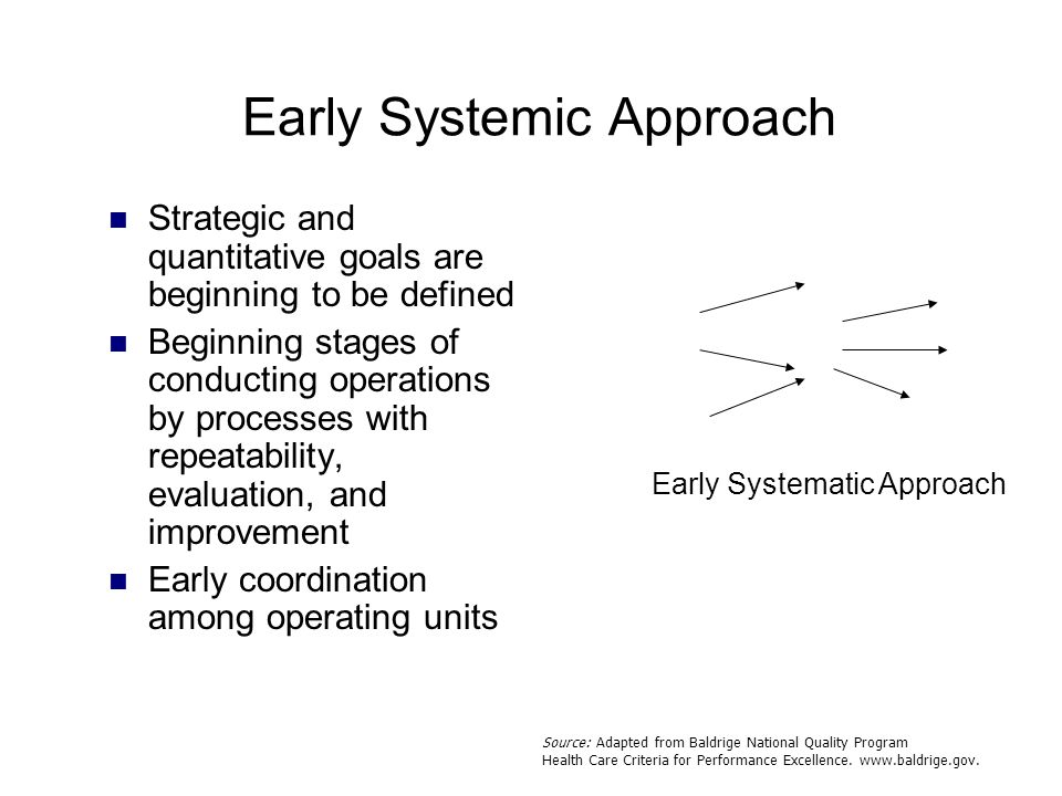 Early Systematic Approach Early Systemic Approach Strategic and quantitative goals are beginning to be defined Beginning stages of conducting operatio