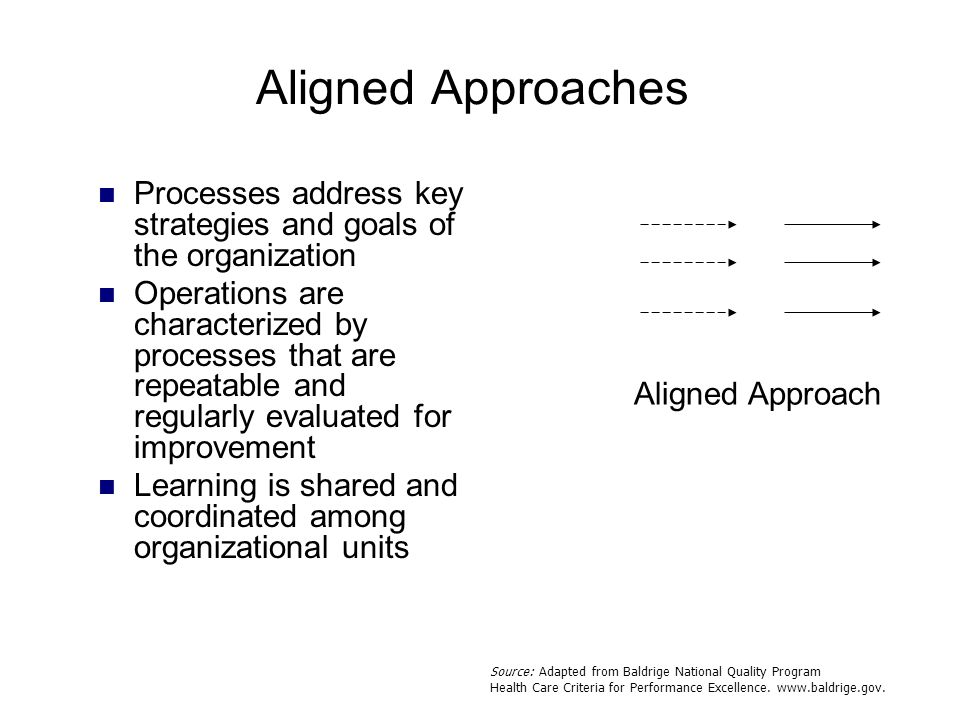 Aligned Approach Aligned Approaches Processes address key strategies and goals of the organization Operations are characterized by processes that are
