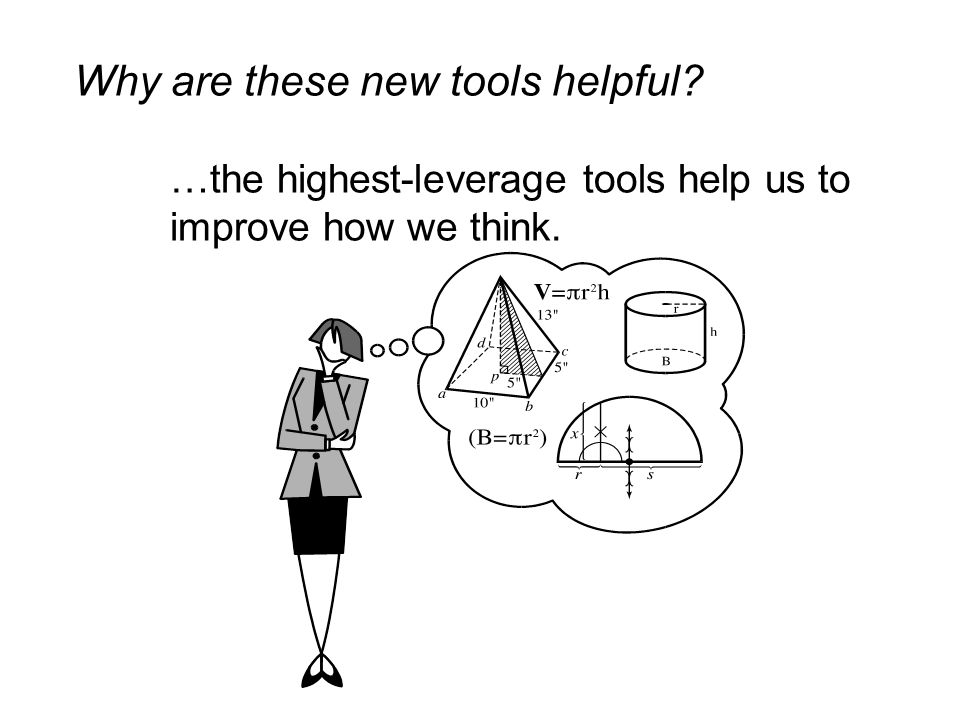 Why are these new tools helpful? …the highest-leverage tools help us to improve how we think.