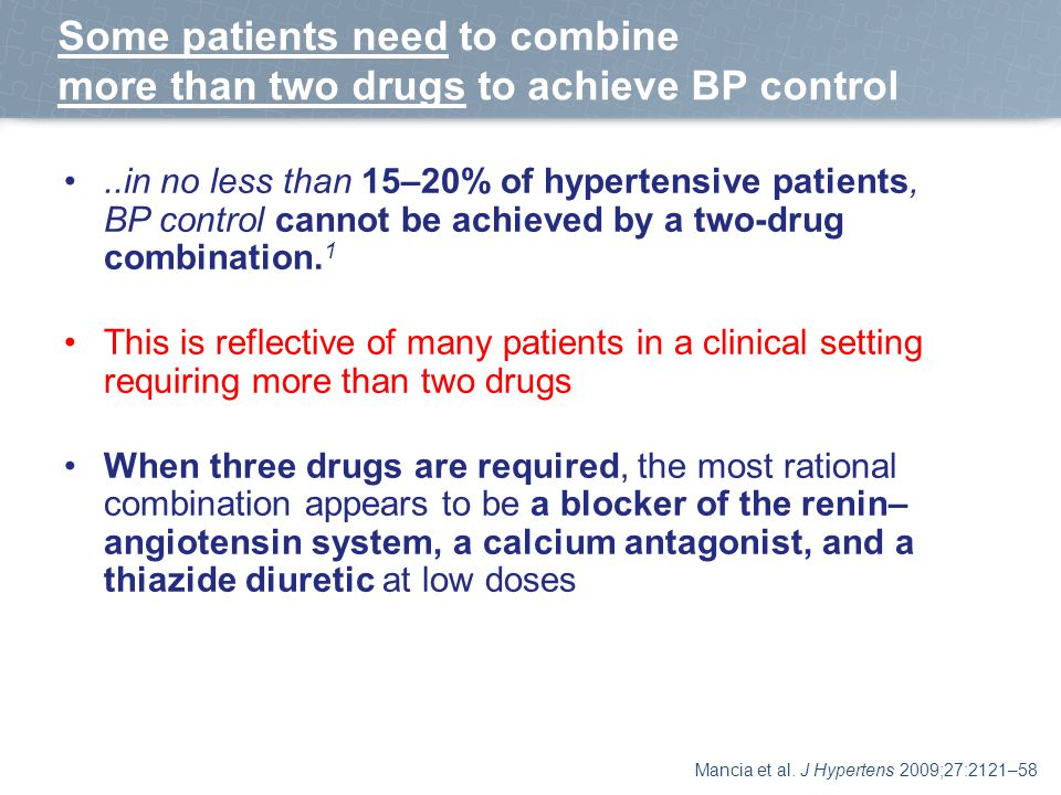 Some patients need to combine more than two drugs to achieve BP control..in no less than 15–20% of hypertensive patients, BP control cannot be achieved by a two-drug combination.