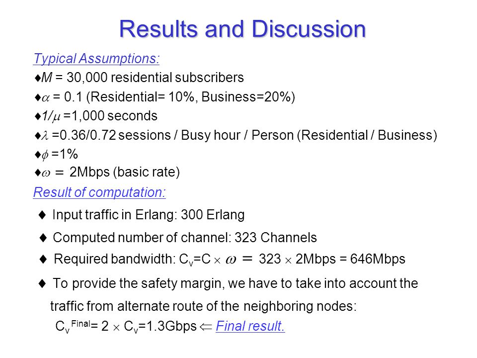 Results and Discussion Typical Assumptions:  M = 30,000 residential subscribers  = 0.1 (Residential= 10%, Business=20%)  1/  =1,000 seconds  =0.