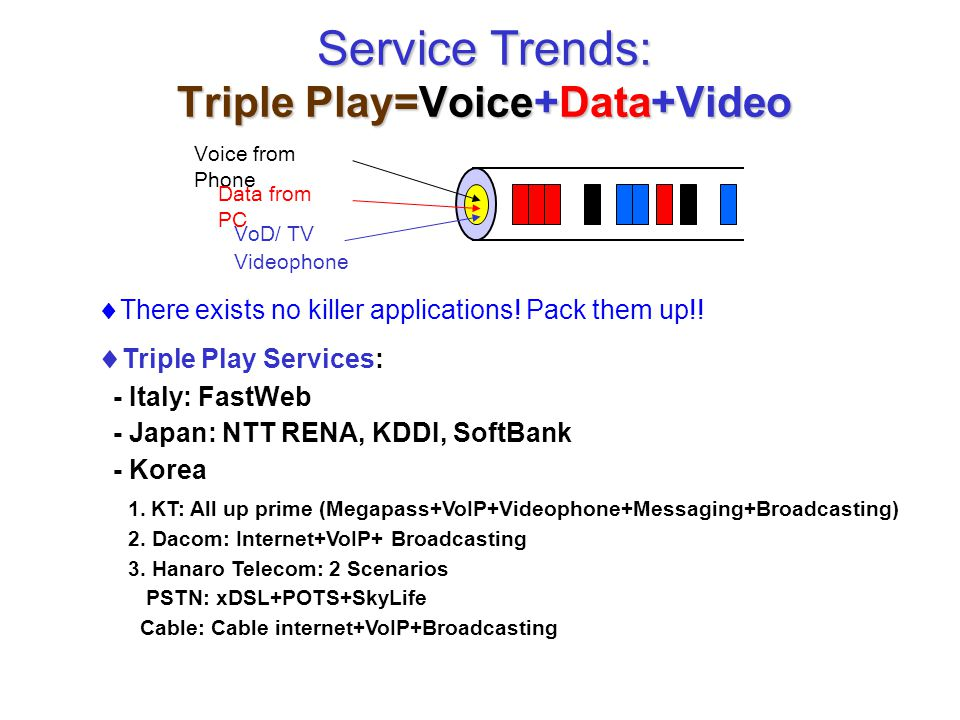 Service Trends: Triple Play=Voice+Data+Video  There exists no killer applications! Pack them up!! Voice from Phone Data from PC VoD/ TV Videophone 