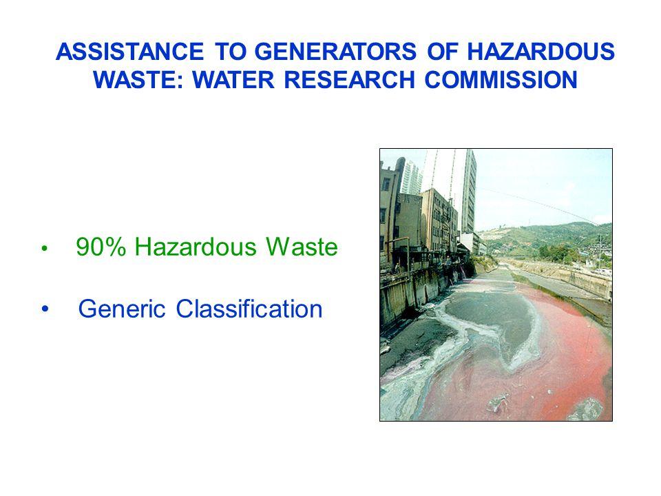 ASSISTANCE TO GENERATORS OF HAZARDOUS WASTE: WATER RESEARCH COMMISSION 90% Hazardous Waste Generic Classification