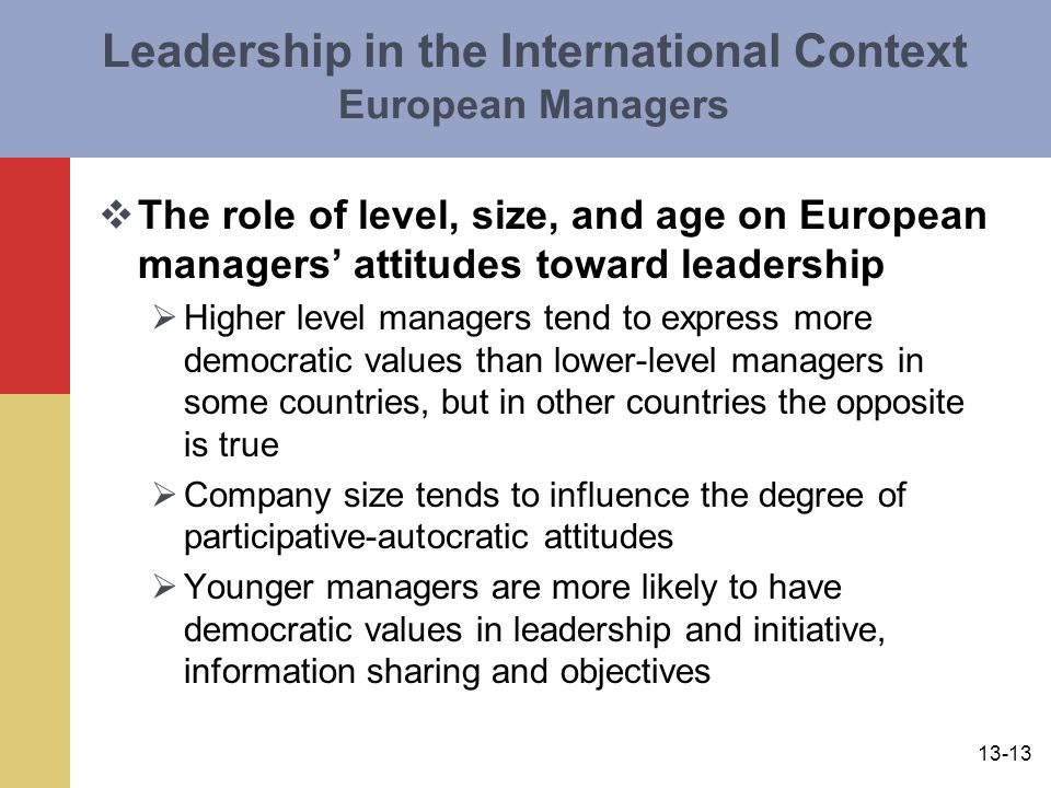13-13 Leadership in the International Context European Managers  The role of level, size, and age on European managers' attitudes toward leadership  Higher level managers tend to express more democratic values than lower-level managers in some countries, but in other countries the opposite is true  Company size tends to influence the degree of participative-autocratic attitudes  Younger managers are more likely to have democratic values in leadership and initiative, information sharing and objectives