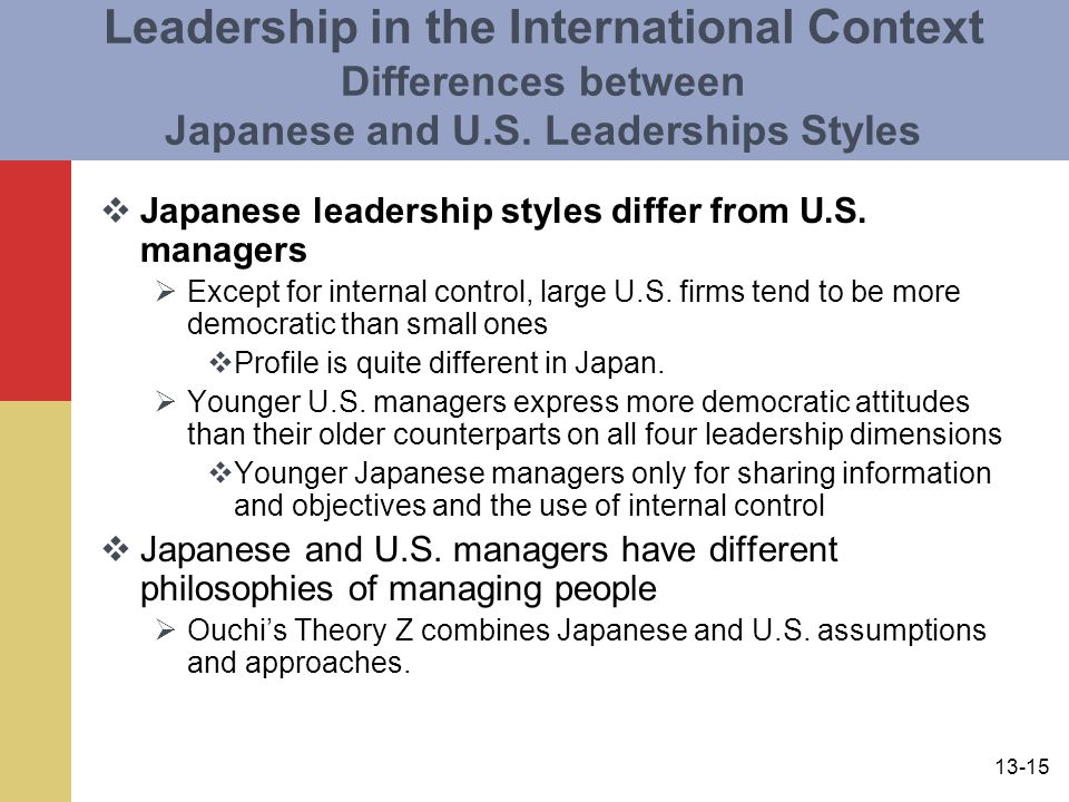 13-15 Leadership in the International Context Differences between Japanese and U.S. Leaderships Styles  Japanese leadership styles differ from U.S. m
