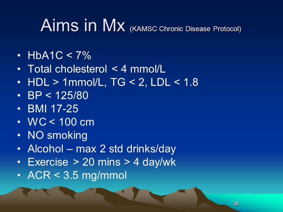 38 Aims in Mx (KAMSC Chronic Disease Protocol) HbA1C < 7% Total cholesterol < 4 mmol/L HDL > 1mmol/L, TG < 2, LDL < 1.8 BP < 125/80 BMI 17-25 WC < 100