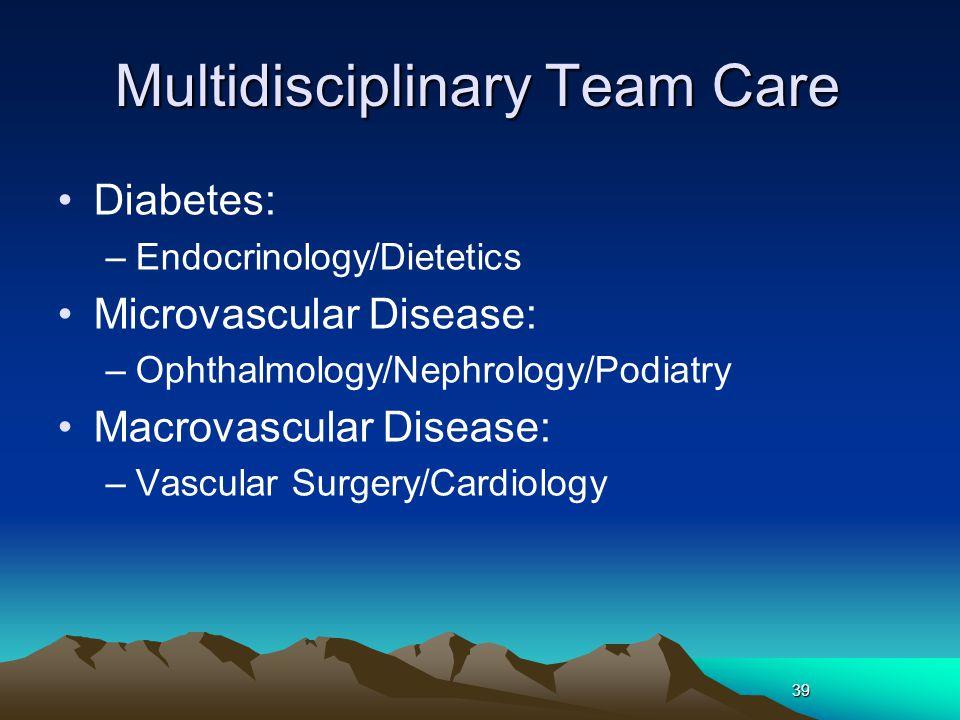 39 Multidisciplinary Team Care Diabetes: –Endocrinology/Dietetics Microvascular Disease: –Ophthalmology/Nephrology/Podiatry Macrovascular Disease: –Va