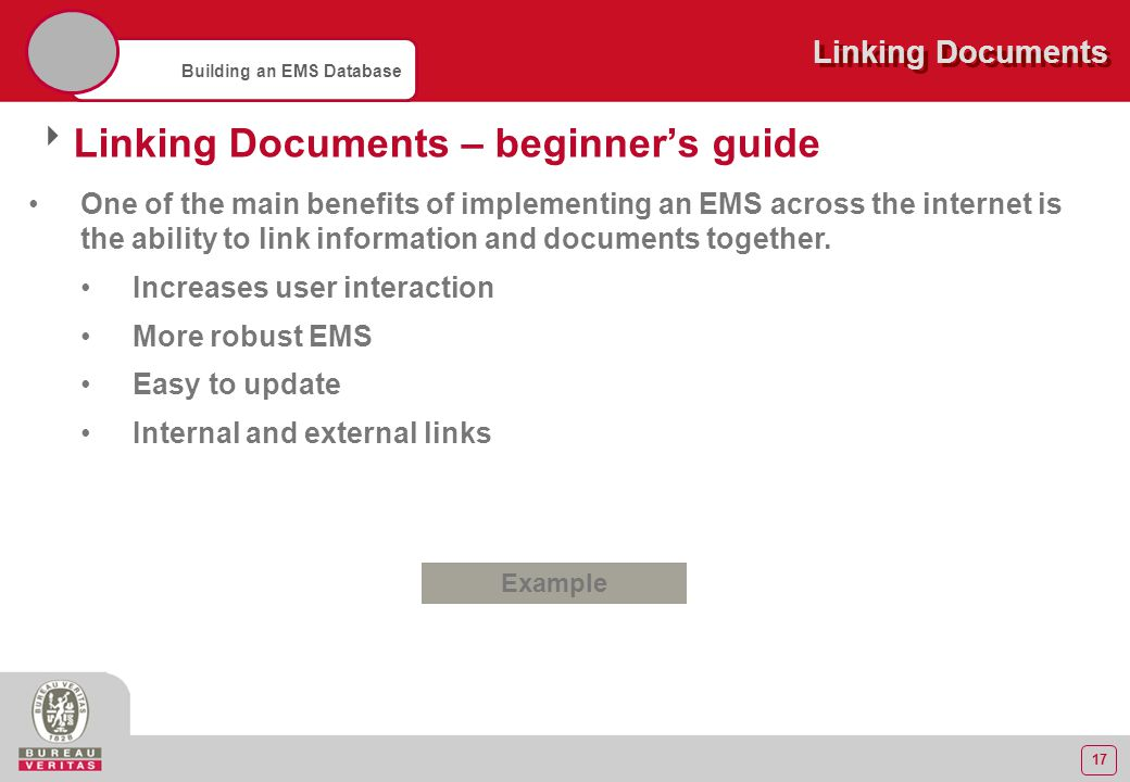 17 Building an EMS Database Linking Documents  Linking Documents – beginner's guide One of the main benefits of implementing an EMS across the intern