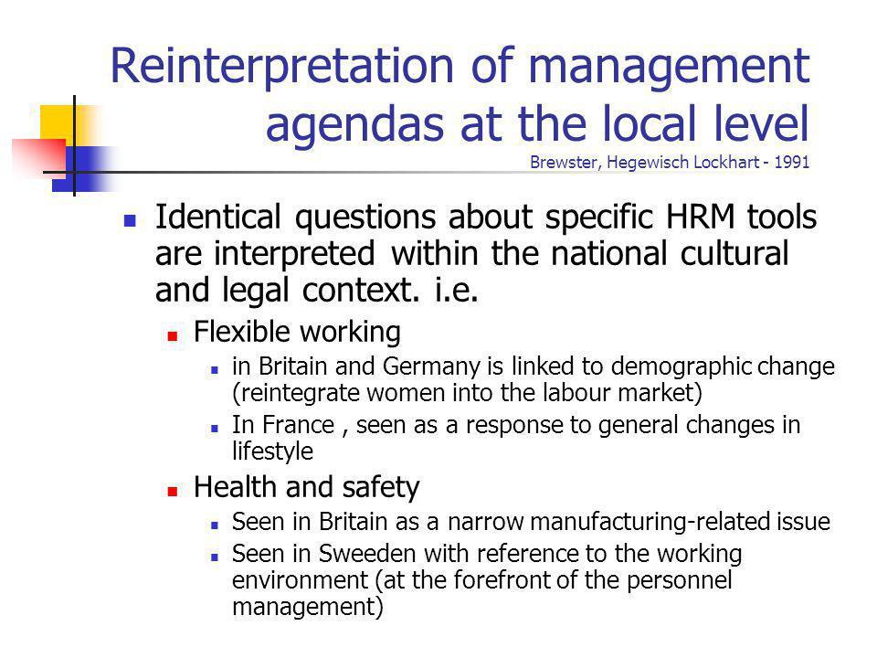 Reinterpretation of management agendas at the local level Brewster, Hegewisch Lockhart - 1991 Identical questions about specific HRM tools are interpr