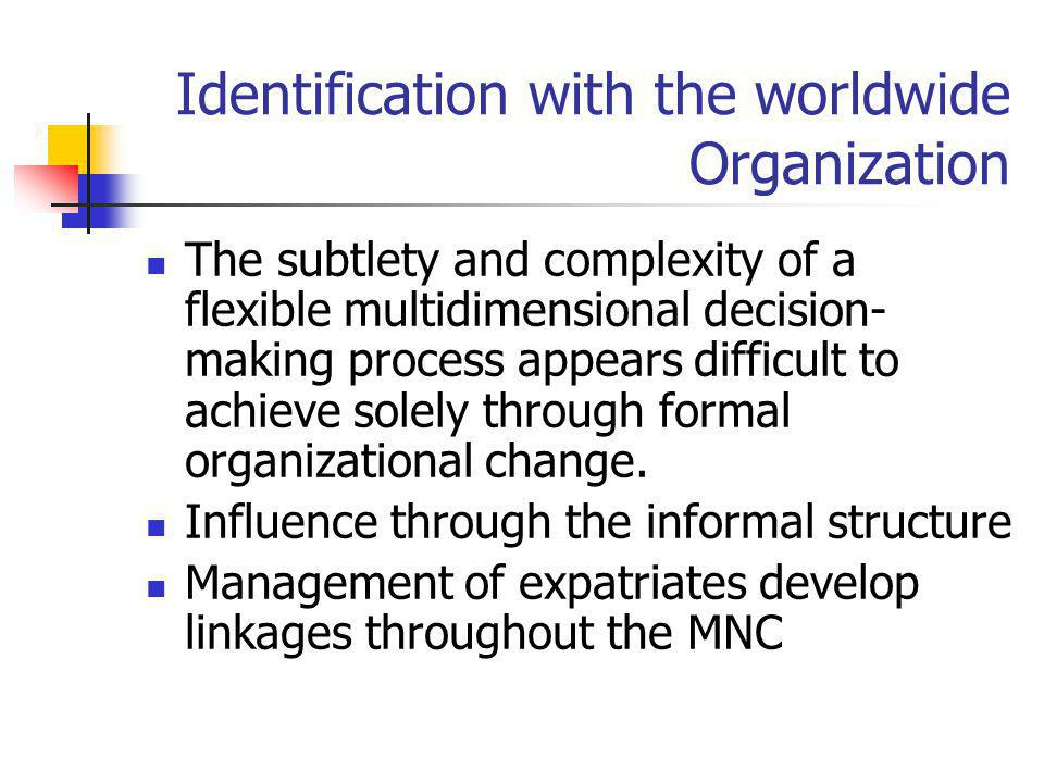 Identification with the worldwide Organization The subtlety and complexity of a flexible multidimensional decision- making process appears difficult t