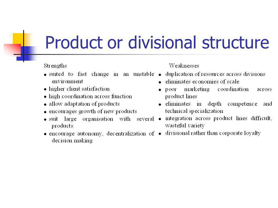 Product or divisional structure