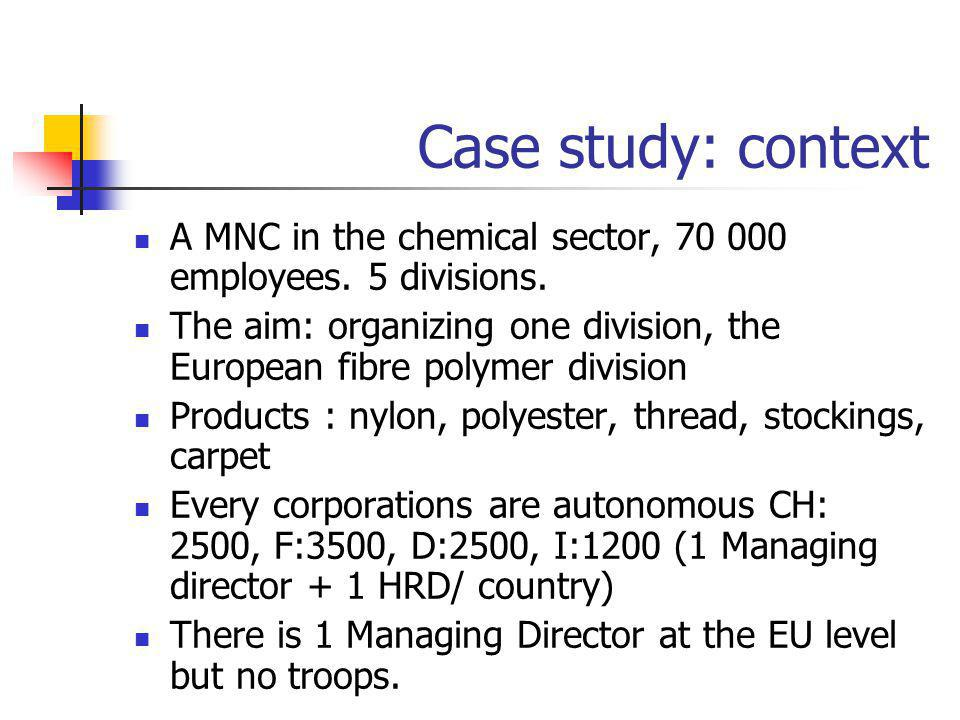 Case study: context A MNC in the chemical sector, 70 000 employees. 5 divisions. The aim: organizing one division, the European fibre polymer division