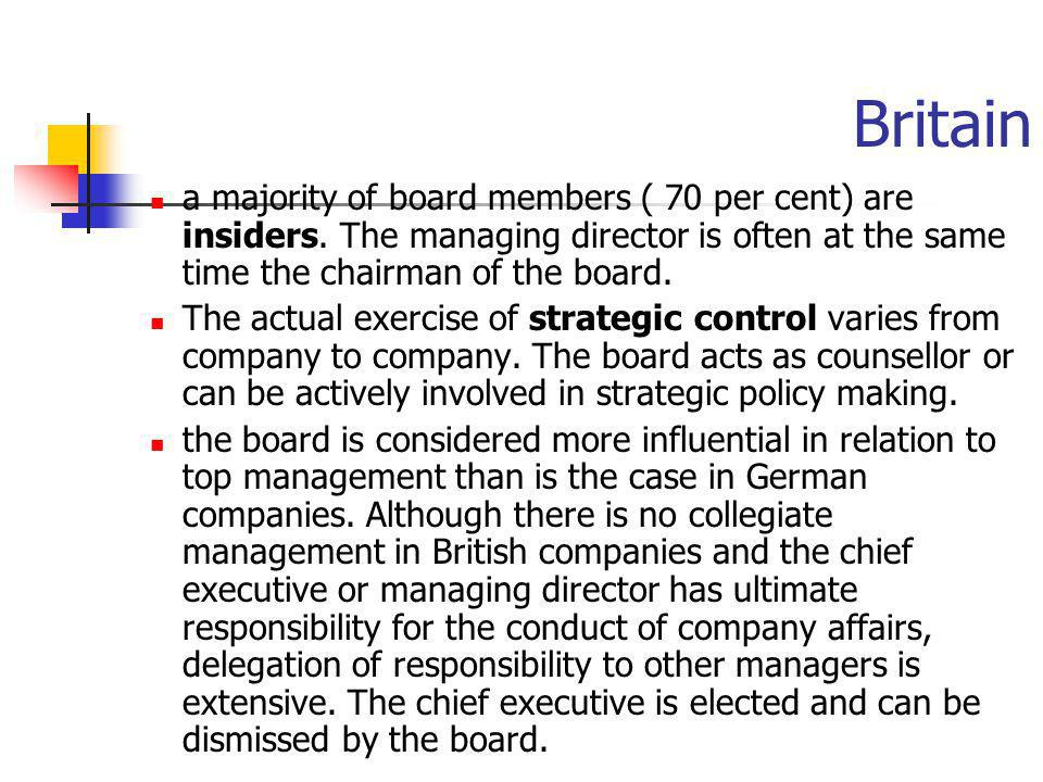 Britain a majority of board members ( 70 per cent) are insiders. The managing director is often at the same time the chairman of the board. The actual