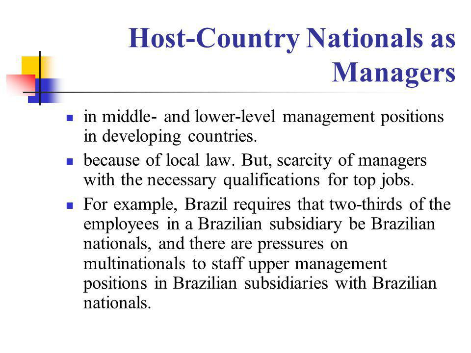 Host-Country Nationals as Managers in middle- and lower-level management positions in developing countries. because of local law. But, scarcity of man