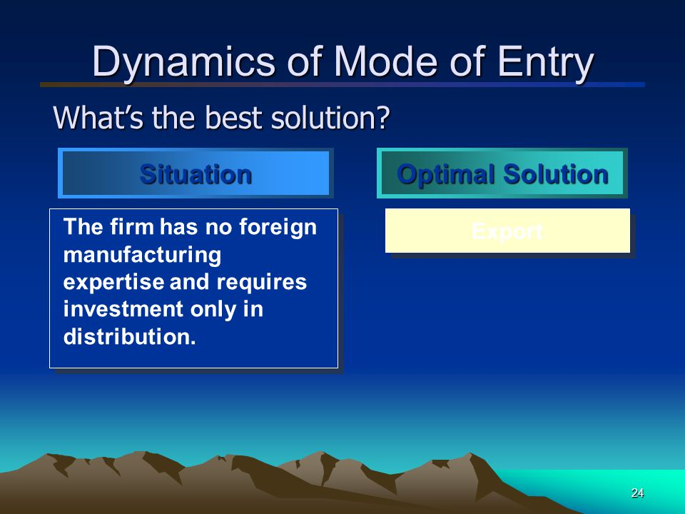25 Dynamics of Mode of Entry The firm needs to facilitate the product improvements necessary to enter foreign markets.