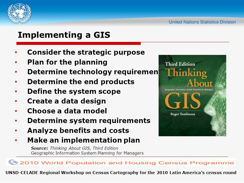 Implementing a GIS Consider the strategic purpose Plan for the planning Determine technology requirements Determine the end products Define the system scope Create a data design Choose a data model Determine system requirements Analyze benefits and costs Make an implementation plan Source: Thinking About GIS, Third Edition Geographic Information System Planning for Managers