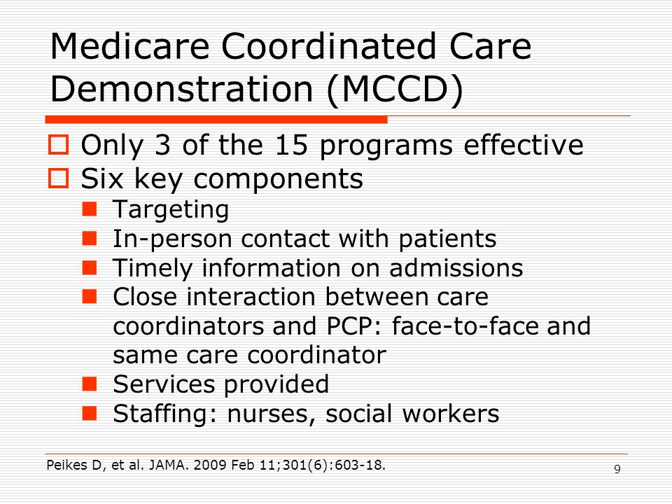 Care Coordination Interventions  Transitional care  Self-management education: short community-based programs to activate patients in disease self management  Coordinated care: patients with chronic conditions at high risk of hospitalization, provide care planning, monitoring of patients' symptoms and self-care, working with the patient, PCP and caregivers Coleman EA, et al.,Arch Intern Med.