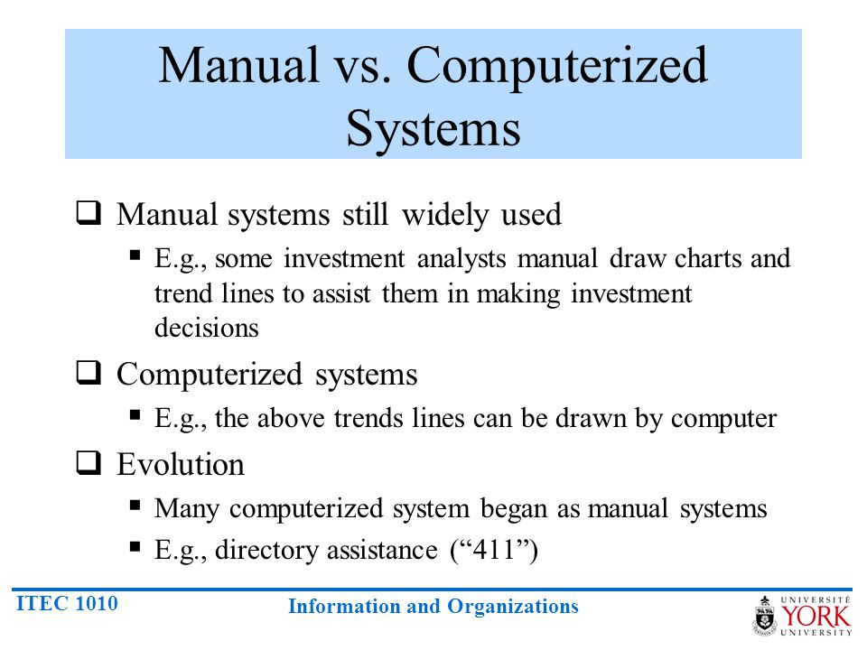 ITEC 1010 Information and Organizations Manual vs.